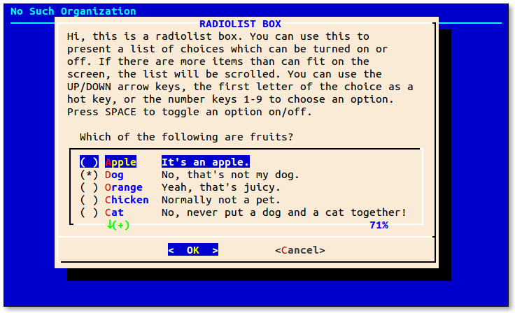 Screen shot of the radiolist dialog