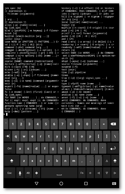 Termux displaying builtin shell commands